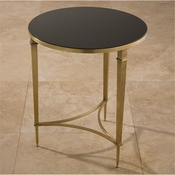 Global Views Round French Square Leg Table-Brass & Black Granite