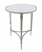 Global Views Round French Square Leg Table-Nickel & Mirror