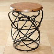 Global Views Rustic Copper Top Ring Table