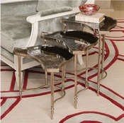 Global Views S/3 Cartouche Nesting Side Tables-Nickel