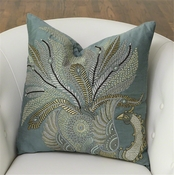 Global Views Sarangi Peacock Pillow-Jade