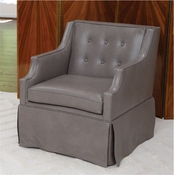 Global Views Skirted Leather Chair-Dove Grey