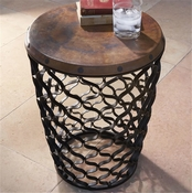 Global Views Small Arabesque Table with Antique Copper Top