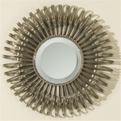 Global Views Small Round Nickel Sunburst Mirror