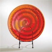 Global Views Spiral Flat Plate-Clear/Red/Orange