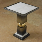 Global Views Squeeze Side Table-Bronze W/White Marble Top
