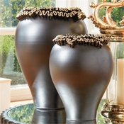 Global Views Squiggles Vase-Black w/Gold Leaf-Small