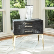 Global Views Stiletto Bedside Table-Black Hair-on-Hide