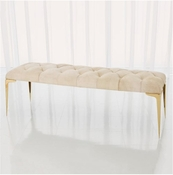Global Views Stiletto Bench-White Hair-on-Hide