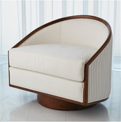 Global Views Swivel Chair-White Leather