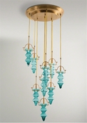 Global Views Tea Light Chandelier-Lightest Aqua