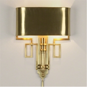 Global Views Torch Sconce w/Shade-Antique Brass