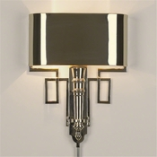 Global Views Torch Sconce w/Shade-Nickel