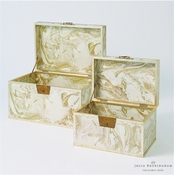 Global Views Treasure Trunk-Gold/Creme-Large