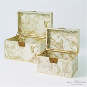 Global Views Treasure Trunk-Gold/Creme-Small