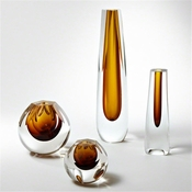 Global Views Triangle Cut Glass Vase-Amber