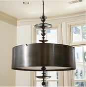 Global Views Turned Pendant Chandelier-Antique Bronze Finish-Small