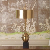 Global Views Twig Bulb Lamp-Brass