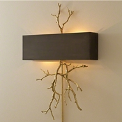 Global Views Twig Electrified Wall Sconce-Brass on Brass w/Bronze Shade