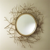 Global Views Twig Mirror-Brass