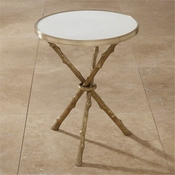 Global Views Twig Table-Brass & White Marble