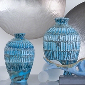 Global Views Vesuvius Vase-Turquoise-Large