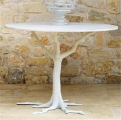 Global Views White Faux Bois Dining Table