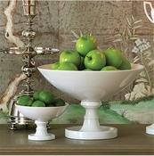 Global Views White Grand Pedestal Bowl-Large