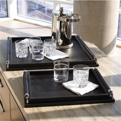 Global Views Wrapped Handle Tray-Black Leather-Large