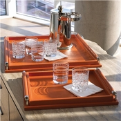 Global Views Wrapped Handle Tray-Coral Leather-Small