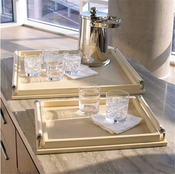 Global Views Wrapped Handle Tray-Ivory Leather-Large