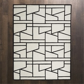 Global Views  Zig Zag Rug-Ivory/Black-9' x 12'