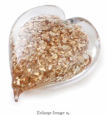 Gold Flakes Double Sided Art  Glass Heart