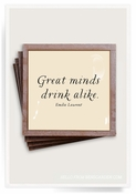 Great Minds Drink Alike Copper & Glass Coasters 4 Pc Set
