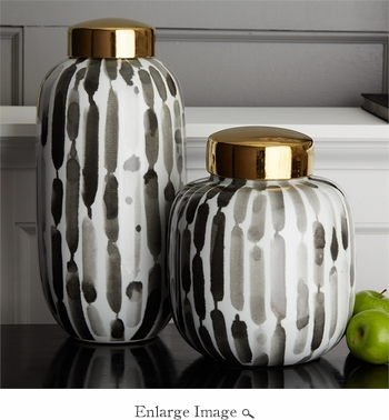 Handpainted Brush Strokes Set of 2 Black and White Covered Jars