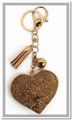 Heart Key Chain & Bag Charm - Gold