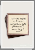 Here's To Nights Copper & Glass Coasters 4 Pc Set
