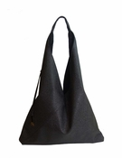 Inzi Designer Bag: Pebbled Sling Tote - Black