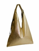 Inzi Designer Bag: Pebbled Sling Tote - Gold