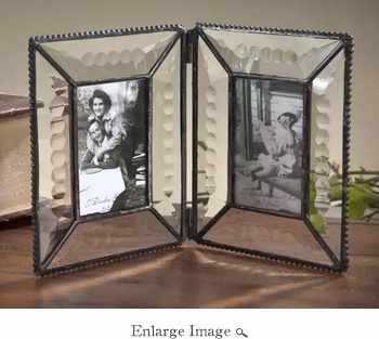 J Devlin Art Glass Double Hinged Picture Frame Beveled-Engraved