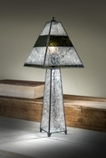 J Devlin Art Glass Lamp Autumn Floral w/Dk Olive