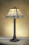 J Devlin Art Glass Lamp Opal with Clear Textures