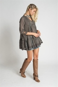 Sold Out - Muche et Muchette Jolene Embroidery Flower Tunic - Taupe