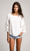 Jolie Flower Lace Blouse- White