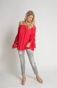 Muche et Muchette Jolie Flower Lace Blouse - Red