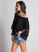 Muche et Muchette Jolie Double Flower Lace Blouse - Black