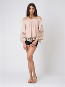 Muche et Muchette Jolie Double Flower Lace Blouse - Blush