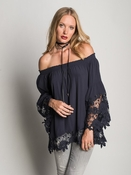 Jolie II Flower Lace Blouse - Navy