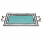 "Julia Knight Classic 25"" Rectangular Tray w/Handles Aqua"