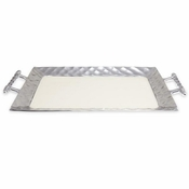 "Julia Knight Diamond 20"" Rectangular Tray With Handles Snow"